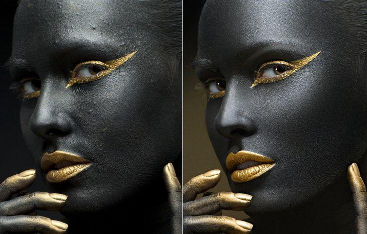 Black and gold. Crop. Before & after Photo: Svetlana Mikulina Retouch: Olga Tkachenko