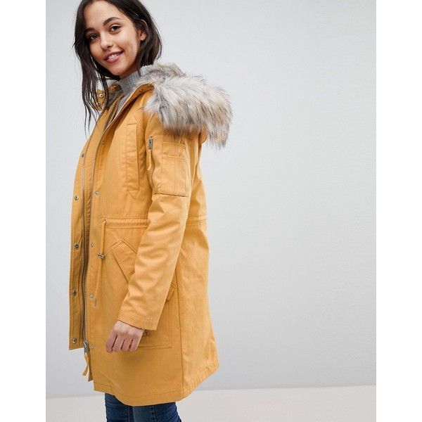 ASOS Parka with Detachable Faux Fur Liner ($125) ❤ liked on Polyvore featuring outerwear, coats, stone, asos, asos coats, faux fur hooded parka, faux fur lined coat and faux fur lining coat