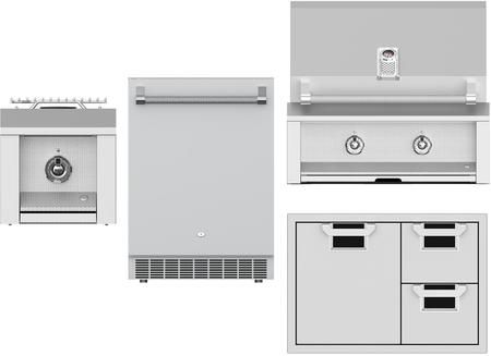 4 Piece Grill Package With Emb30ng 30 Natural Gas Grill Aeb121ngss 12 Natural Gas Side Burner Locker Storage Compact Refrigerator Storage