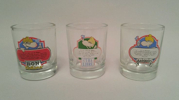THREE ASST. MIX DRINK RECIPES ON SHOT GLASSES RON COLLINS DAIQUIRI CUBRA LIBRE | eBay
