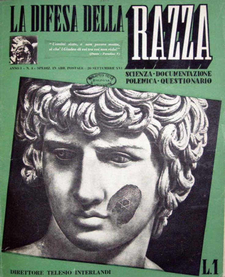Cover of the fascist journal La difesa della razza (The Defence of the Race), September 1938.