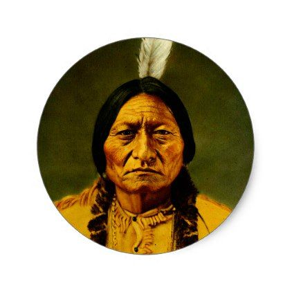 Sitting Bull Native American Indian Chief Classic Round Sticker - plain gifts style diy cyo