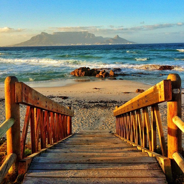 A picturesque beach view with Table Mountain in the background