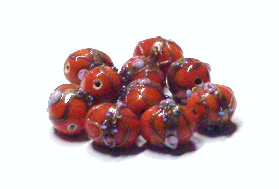 Lampwork Glass Oval Wedding Cake Beads in Red 13 by BeadsFromHaven, $2.70