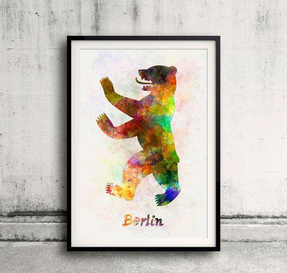 Aquarelle du symbole de Berlin : l'ours