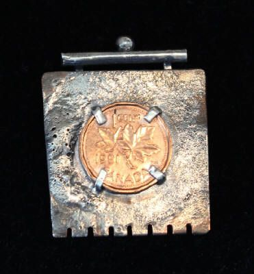 Penny Pin - on Tortured Copper & Sterling Silver by Cathy Sutton $54.00 #Jewellery #CanadianArt www.woodlandsgallery.com