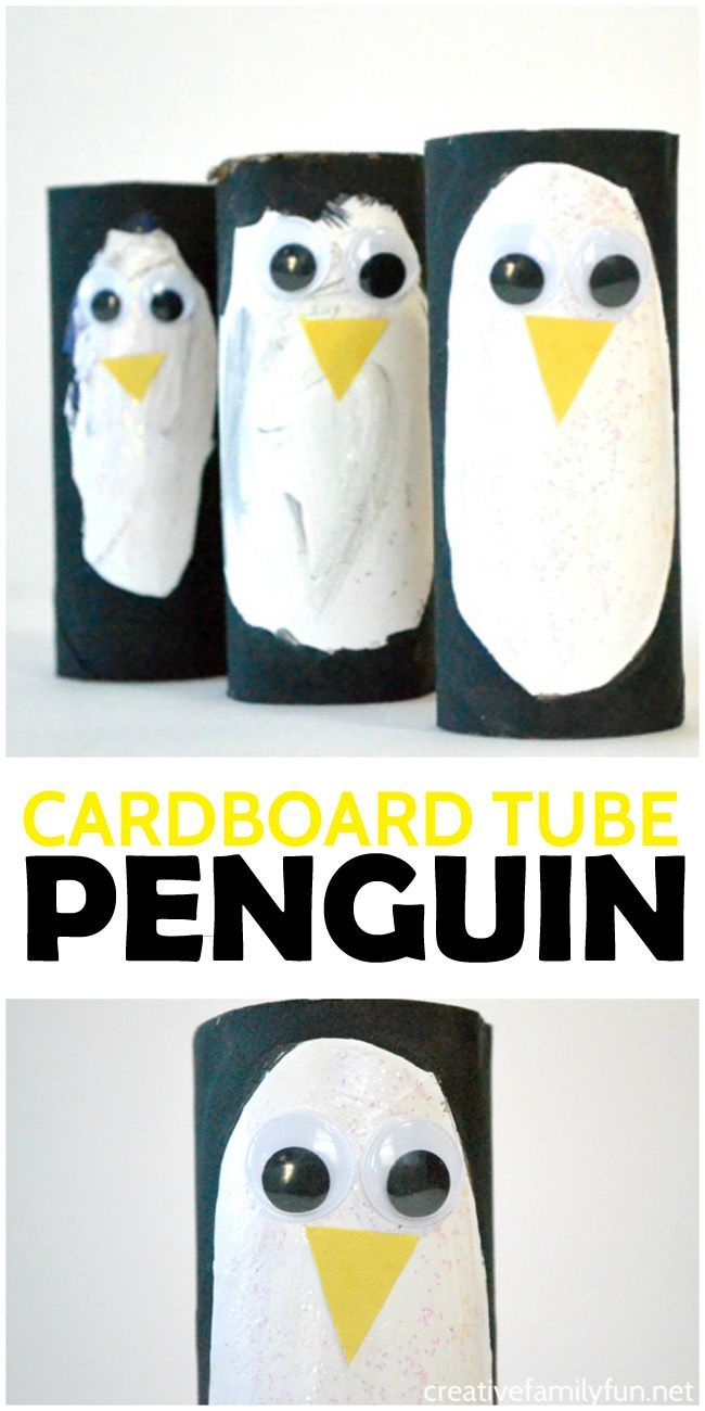 Turn recycled materials into the cutest colony of penguins with this Cardboard Tube Penguin kids craft.