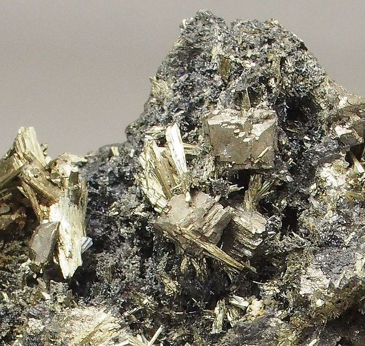 Friedrich Mine, Wissen, North Rhine - Westphalia, Germany - Exceptional specimen hosting several hauchecornite crystals up to 3.5mm.  Unique specimen from the one time find of this mineral before the 19th century!