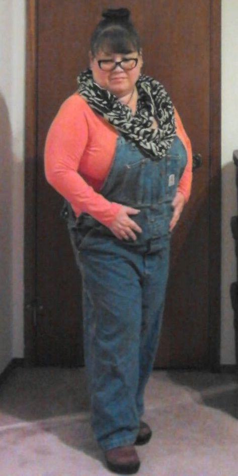 "Fall casual outfit: carhartt overalls, thrifted zebra animal print scarf & orange vneck tshirt, soft no wire RoDesigns bra, brown leather crocs clogs with sockdreams.com toe socks, sante warm red lipstick, Neville Longbottom pendant from http://www.optimysticalstudios.com/ , tunnel & plug earrings Laughing Buddha Seattle. My curvy measurements 52""b-42""w-43""h & >5; I hope this others contemplating style and plus sized apple inverted triangle fashion. 10-14"
