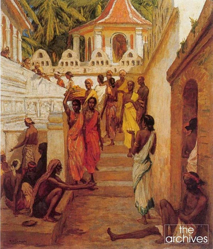 Stairways of Dalada Maligawa as seen by a Czech painter, etcher & woodcut artist T F Šimon who travelled to Ceylon in the 1920's & showcased numerous paintings of Ceylon both in books & various exhibitions. Tavík František Šimon was born František Šimon, later adopted the additional name 'Tavik', which was his mother's maiden name, generally signing his work T. F. Šimon. Largely ignored during the Communist era in Czechoslovakia, his work has received greater attention in recent years.