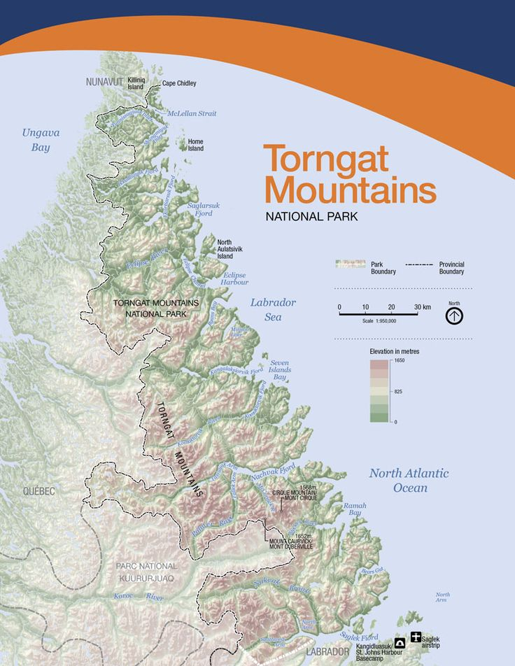 Map of Torngat Mountains National Park of Canada