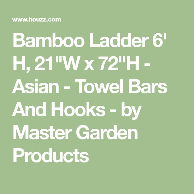 "Bamboo Ladder 6' H, 21""W x 72""H - Asian - Towel Bars And Hooks - by Master Garden Products"