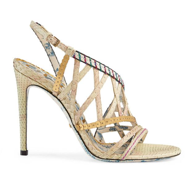 Gucci Python Sandal With Sequins ($1,570) ❤ liked on Polyvore featuring shoes, sandals, women, multi color high heel sandals, multi coloured sandals, multi color sandals, multi colored sandals and buckle strap sandals