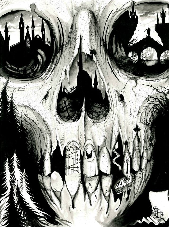 skull / black / white / illustration