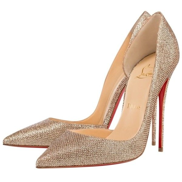 Pre-owned Christian Louboutin Iriza 100 Mm Bronze Glitter Heels ...