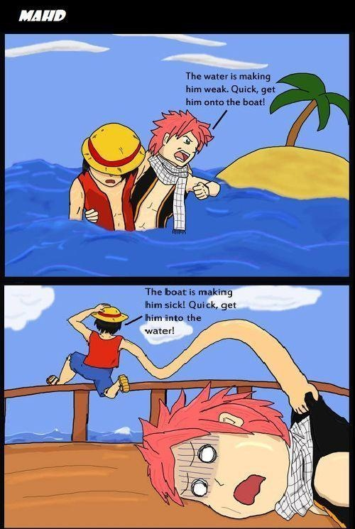 one piece x fairy tail, luffy and natsu