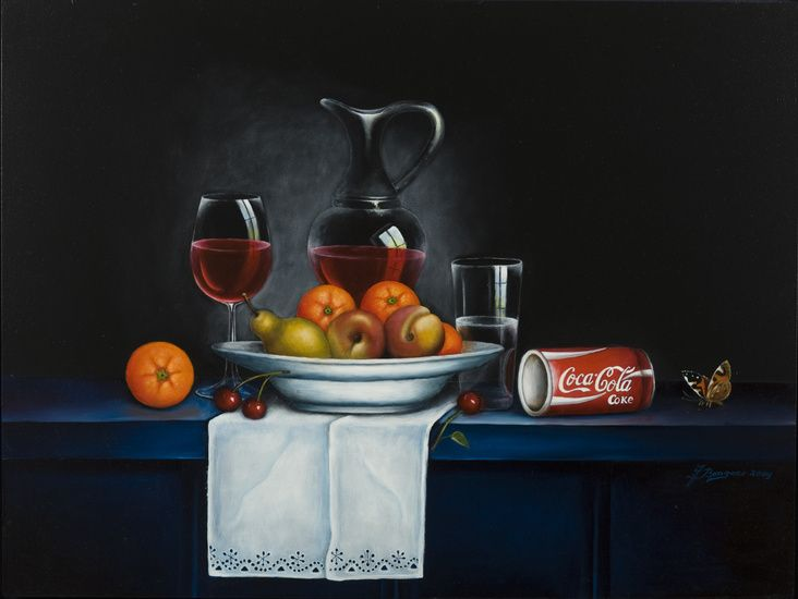 Steef Bongers - Stilleven met fruit en cola