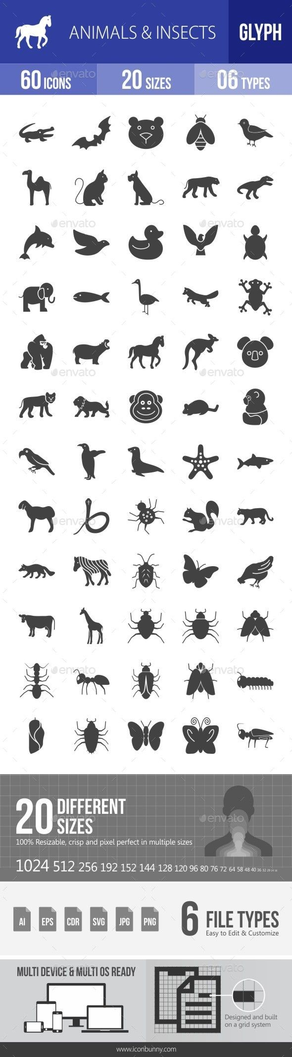Animals & Insects Glyph Icons