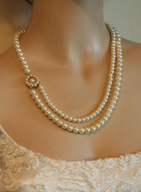 Wedding Pearls Necklace,Bridal Necklace,Vintage Style Jewelry,Two Strands Of Pearls,Crystals And Rhinestone,Gold Wedding Necklace,Victorian