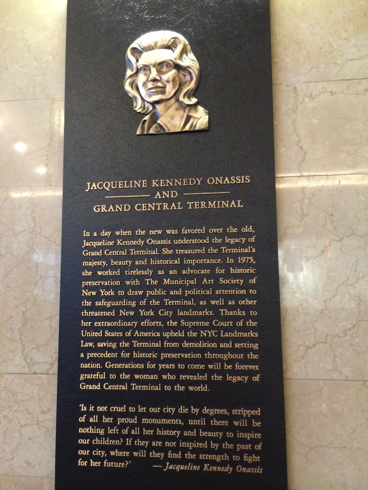 Jackie Plaque Grand Central Terminal NY