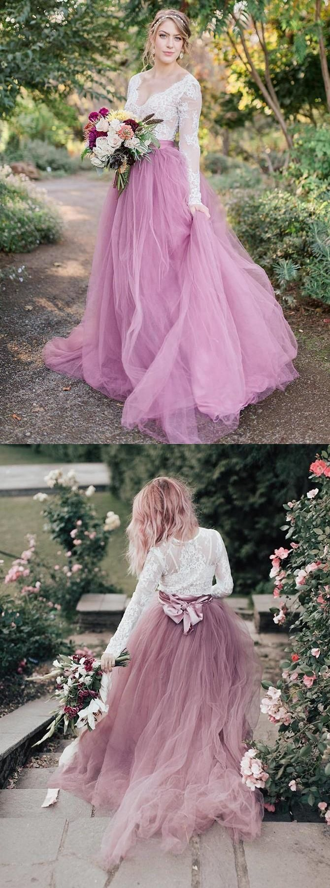 Lace Long Sleeves Wedding Dress Pink Tulle Skirt Bohemian Wedding Dresses YSG6907