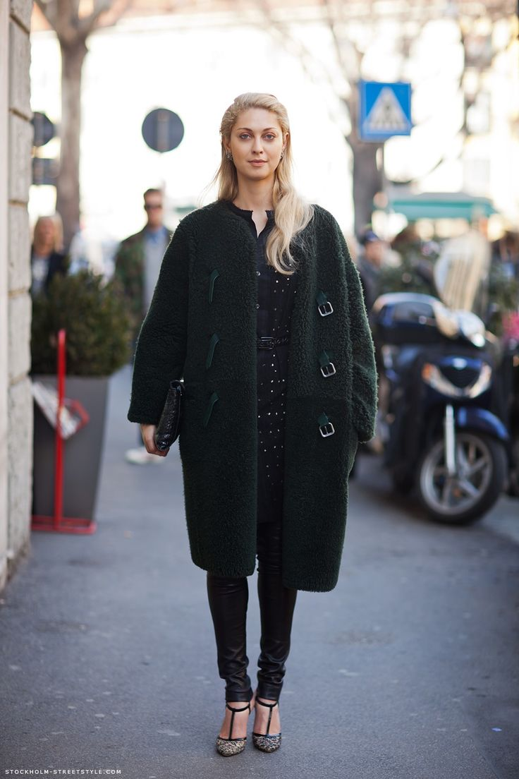 A green fluffy cocoon coat spotted in Stockholm