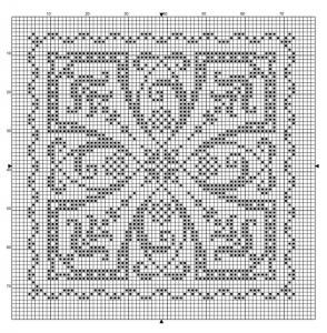 Square 40   Free chart for cross-stitch, filet crochet   Chart for pattern - Gráfico