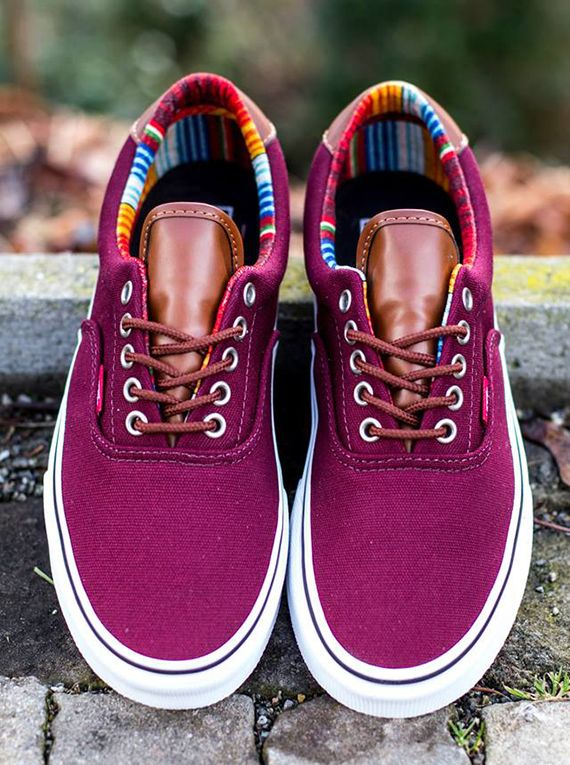vans era purple and teal shoes