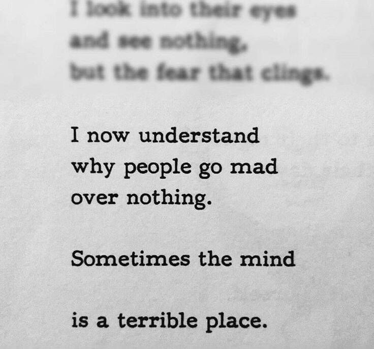 I now understand why people go mad over nothing. Sometimes the mind is a terrible place.