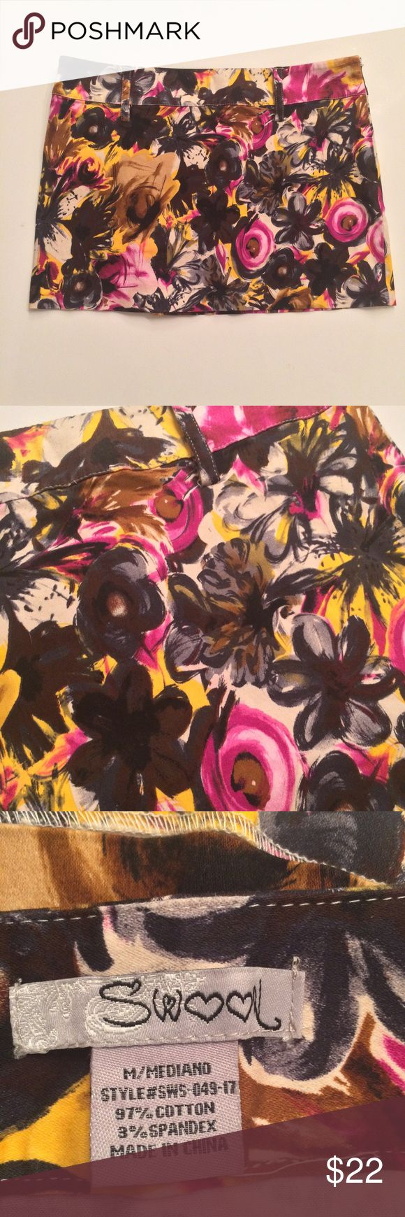 Swoon Floral Micro Skirt -Bright & Beautiful Swoon brand micro skirt in a beautiful pink, black, and goldenrod floral design. Has beltloops. Size Medium (probably in juniors, it runs small). In very gently used condition with no stains or rips. Measurements available upon request, I haven't had the chance to take them yet but could get them ASAP if interested :) Swoon Boutique Skirts Mini