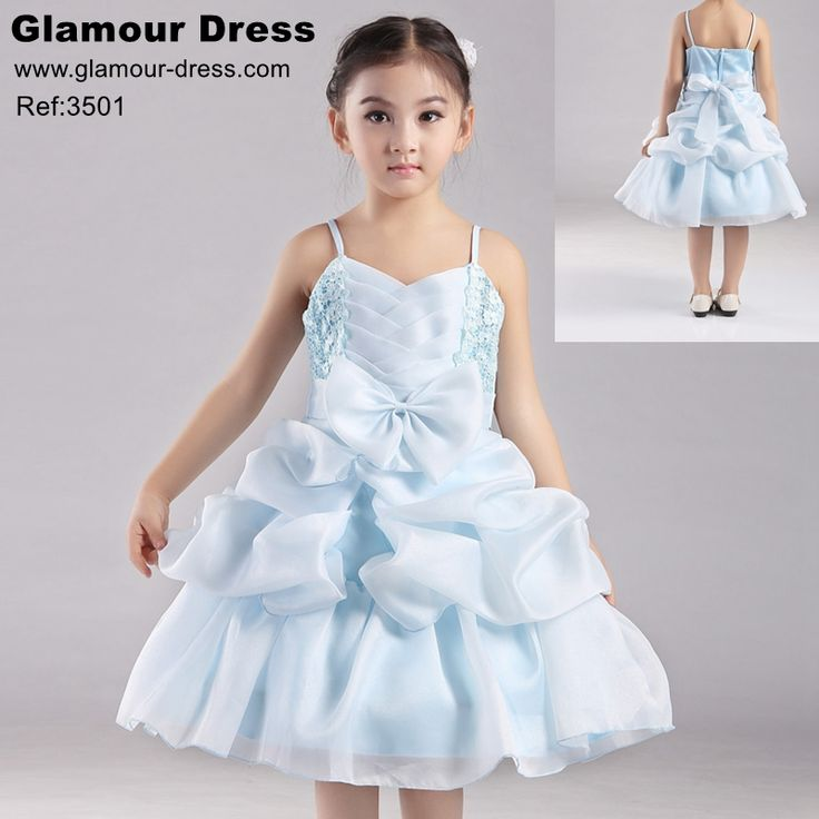 Cotton Lining Girl Party Dress Organza Pageant Ball Gown For Kids 4-8 Years Baby Blue Flower Girl Dresses For Weddings