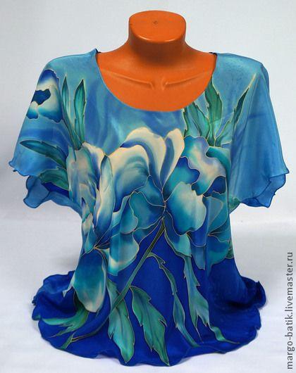 """Блузки ручной работы. Ярмарка Мастеров - ручная работа. Купить Блуза-батик """"Пионы"""". Handmade. Блузка, атласная блуза"""