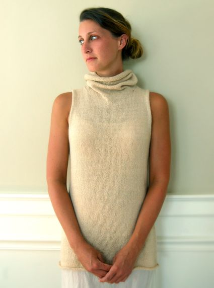 Would be wonderful for winter layering. Cowl Vest shown here made with Jade Sapphire 2 Ply Cashmere Silk....... feathery lightness of the cashmere is beautifully weighed down by the substance of the silk