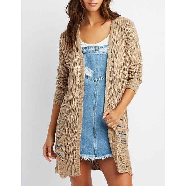 Charlotte Russe Destroyed Open-Front Shaker Stich Cardigan ($26) ❤ liked on Polyvore featuring tops, cardigans, camel, chunky oversized cardigan, distressed top, charlotte russe, camel cardigan and chunky open front cardigan