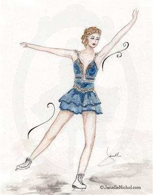 A Royal Blue costume with gold embellishments make this figure skater stand out.  This watercolor image is part of the WC Collection from Ja...