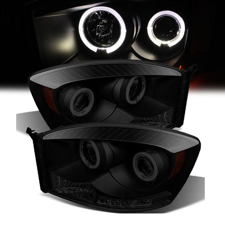 2006-2008 Dodge RAM 1500 2500 3500 Angel Eye Halo & LED Projector Headlights - Black Smoked