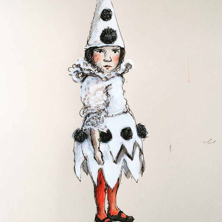 A grumpy little Cabinet Card Pierrot sketched and altered at Federation Square Book Market. #cabinetcard #Pierrot #illustration ink, watercolour, pencil and gouache on paper