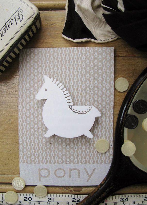 Laser cut retro pony horse brooch by PeggyPoppletonsShop on Etsy