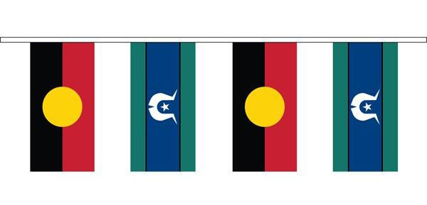 Aboriginal & Torres Strait Island  Flag Bunting  10 metres 150mm x 300mm  Cloth - $130.00 Paper = $55.00 (280mm x 140mm) Plastic - $45.00 made in Australia
