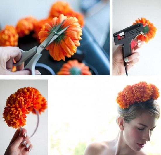 Diadema con flores artificales