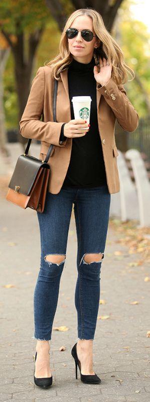 Helena Glazer wears a cute camel blazer over a black turtle neck, all paired with distressed denim jeans.   Box Bag: Celine, Blazer: J Crew, Jeans: Topshop, Turtleneck: J Crew, Shoes: Jimmy Choo.