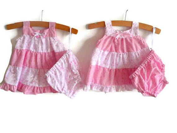 Twin girls outfits  baby girl dresses  pink dresses for baby