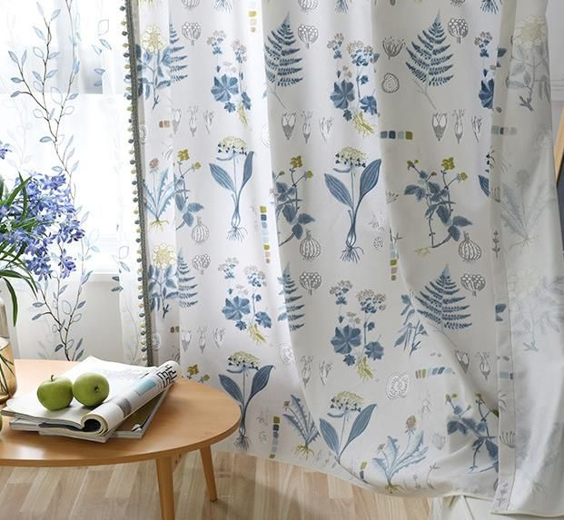 Country Elegant Botanical White And Blue Floral Curtains For