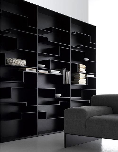 ♂ Minimalist design black shelf grey sofa