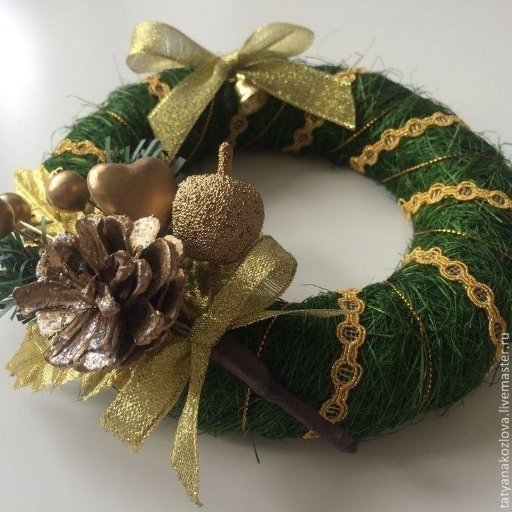 Купить Венок новогодний 2015 из сизаля Традиционный зеленый - тёмно-зелёный, венок декоративный