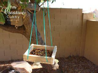 Popsicle Stick Bird Feeder - Tiger Backyard Jungle Birdhouse idea (instead of juice or milk cartoons)