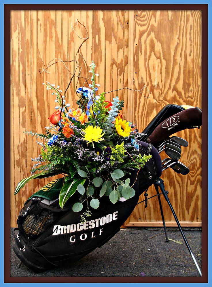 Fresh Flowers in Golf Bag for Memorial Service