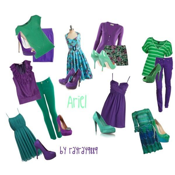 """""""Different Ariel Outfits"""" by raven-ferrel on Polyvore (I wanted to dress like this one day and my sister said I rather looked like barney the dinosaur)"""