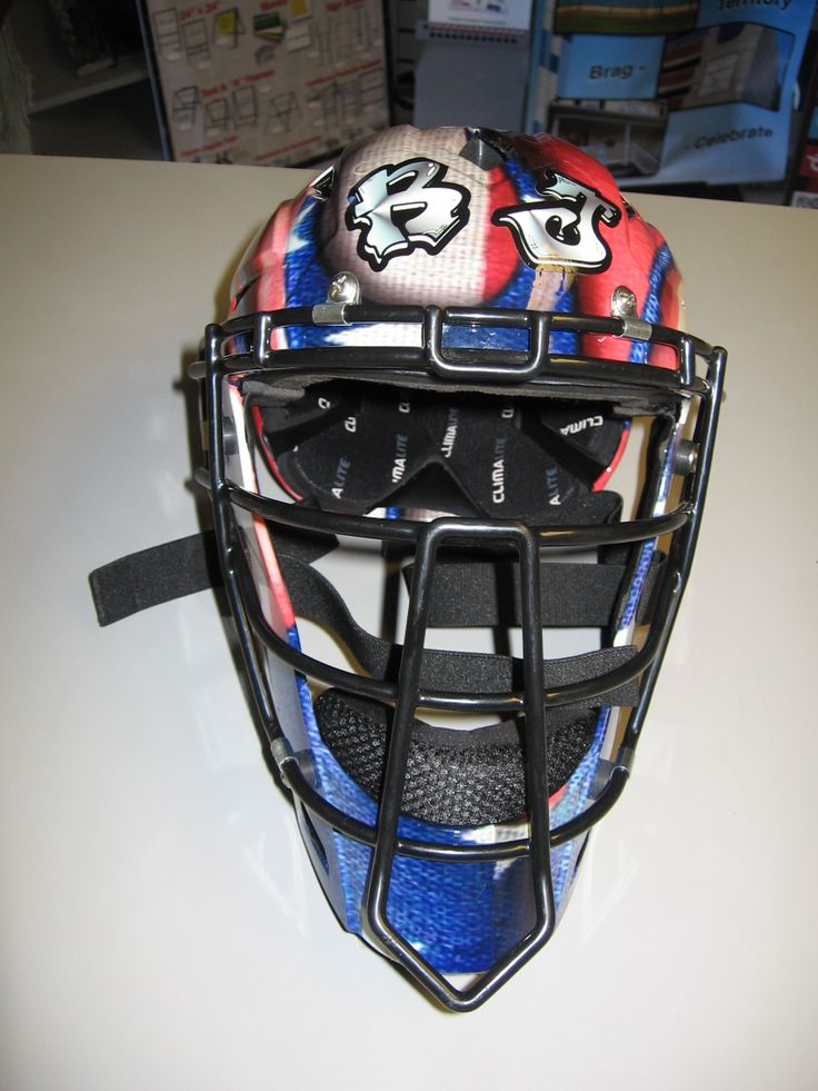 We wrapped this catcher's helmet in a patriotic themed ...