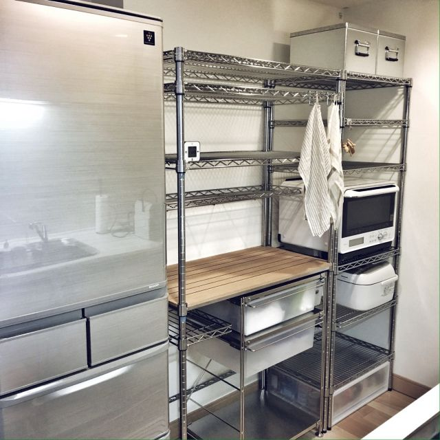 myumiponさんの、キッチン収納,メタルラック,メタルラック×無印良品,IKEA,無印良品,ルミナスラック,ステンレスユニットシェルフ,スチールラック,キッチン,のお部屋写真